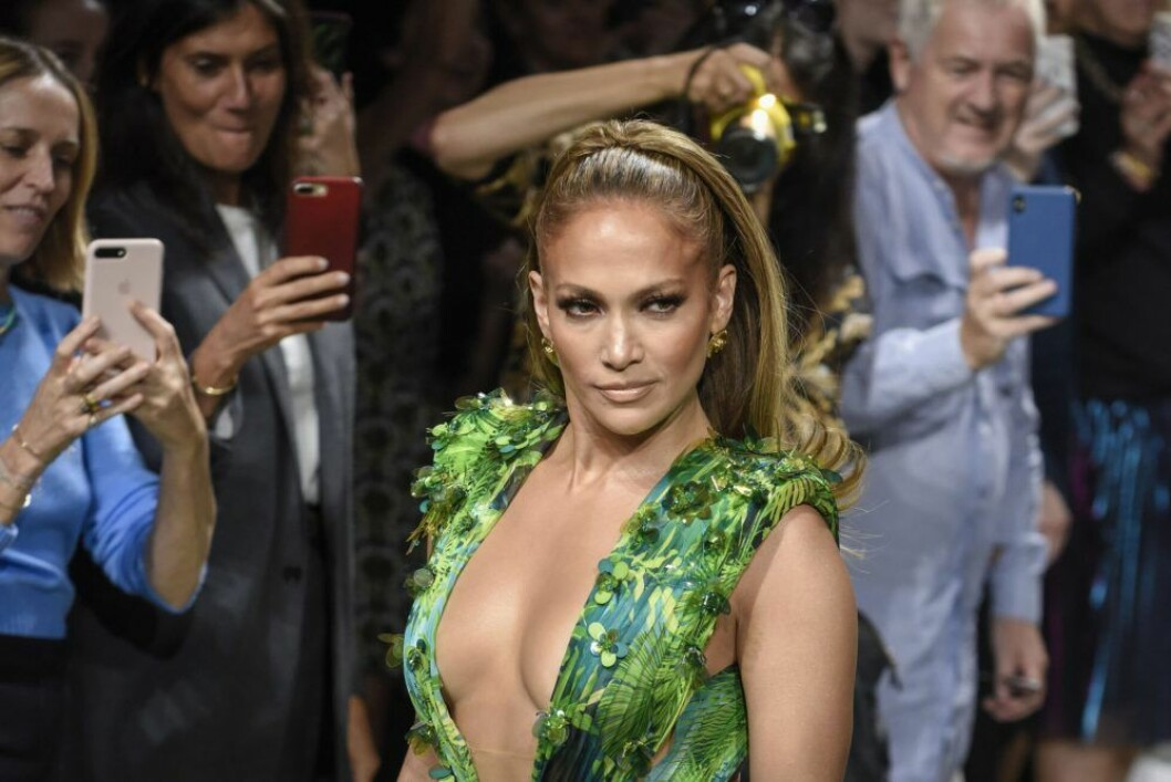 Jennifer Lopez grön klänning Versace