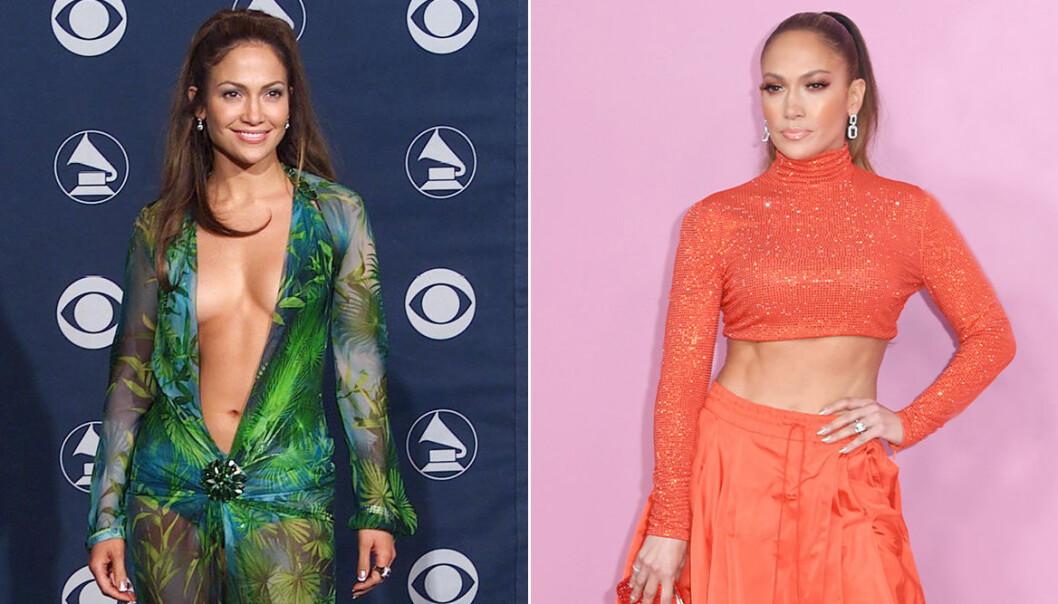 Jennifer Lopez i grön versace-klänning 2000 och Jennifer Lopez i orange set från Ralph Lauren