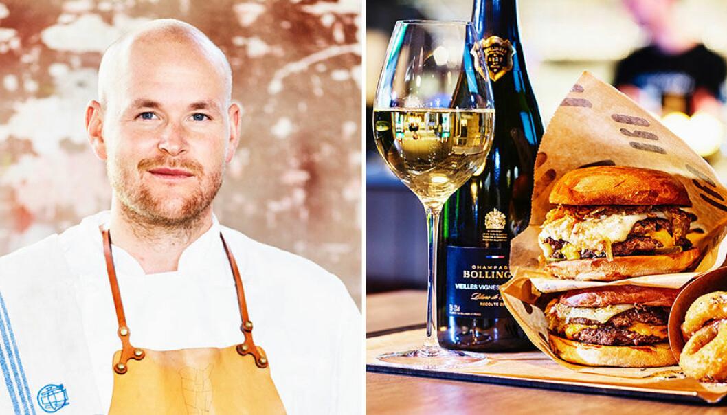 Johan Jureskog matchar burgare med champagne.