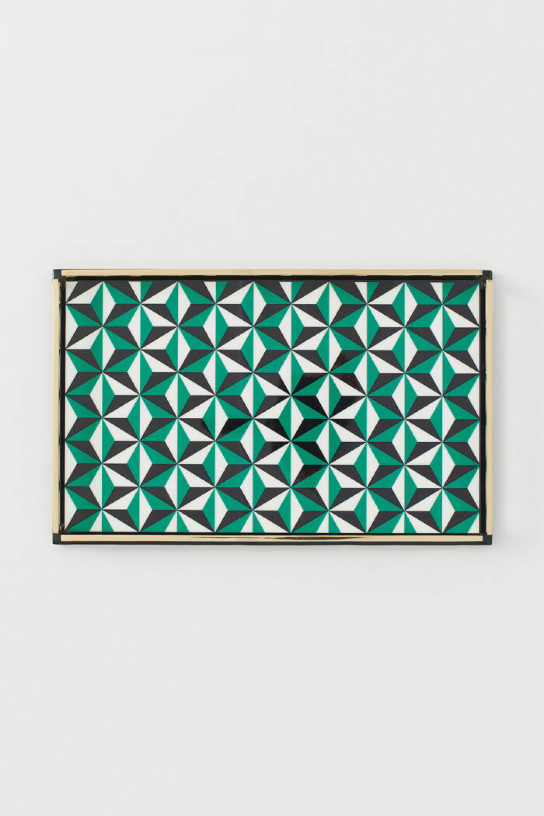 Mönstrad bricka i grönt, svart och vitt från Jonathan Adler x H&M