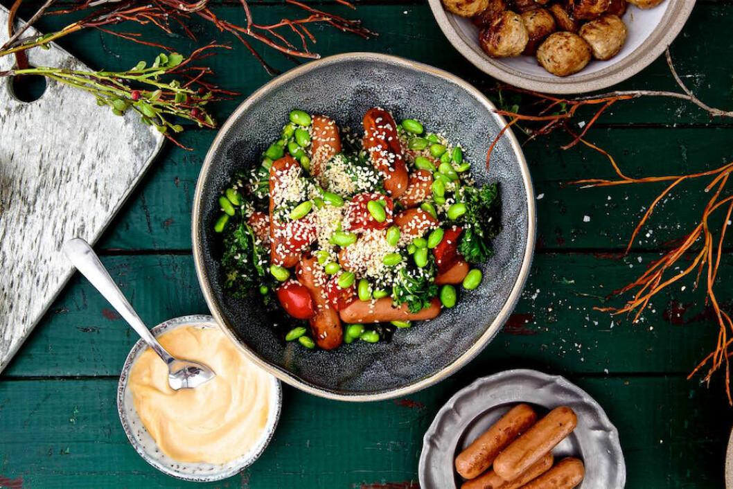 Recept på vegetarisk julbowl