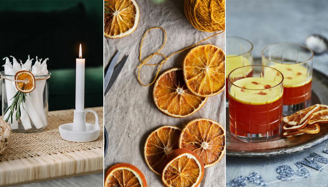 Juldekorationer med torkade apelsinskivor