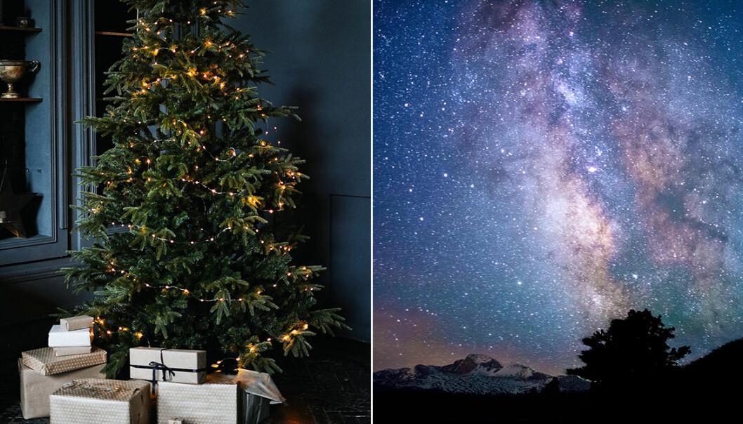julgran med klappar och stjärnhimmel