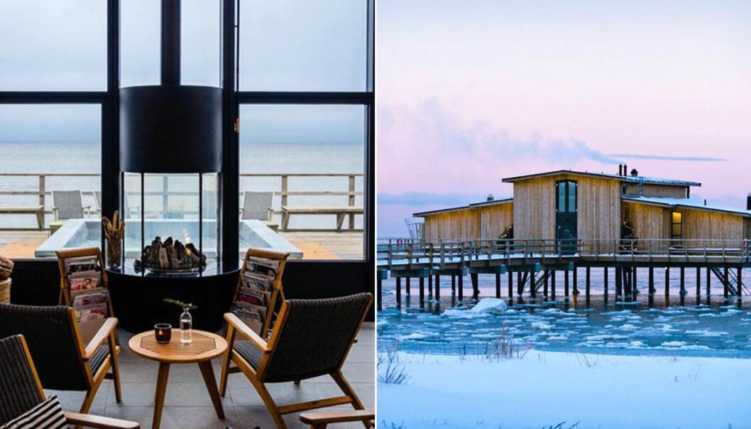 relax med brasa och badhuset vintertid