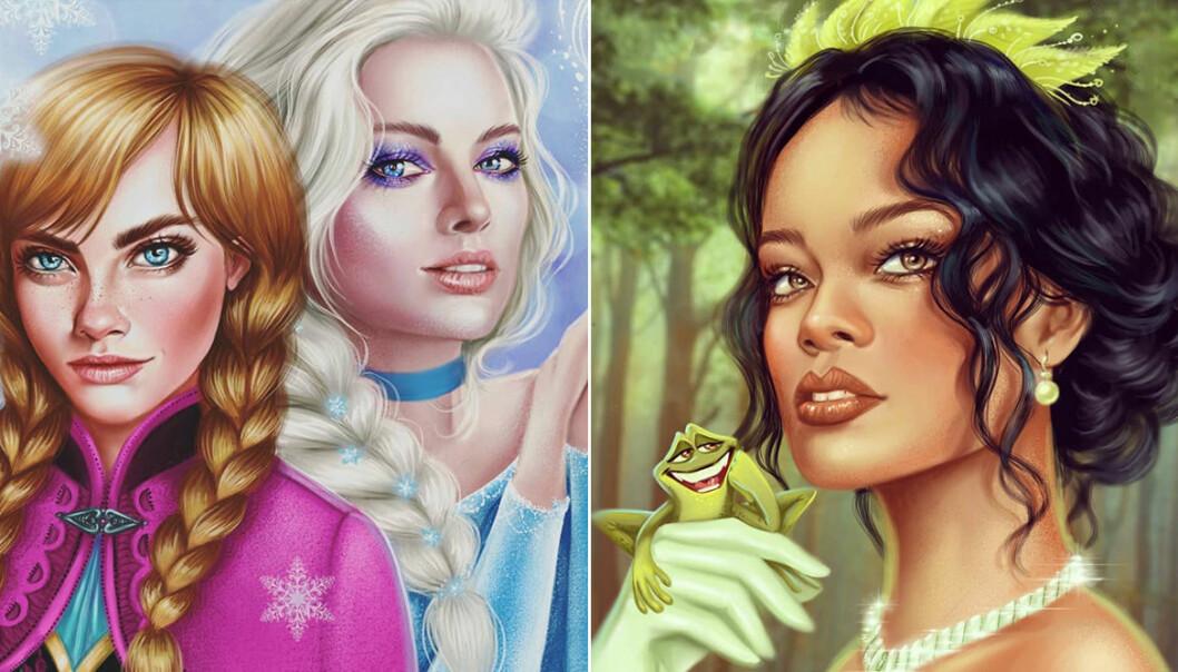 Rihanna som Tiana och Cara Delevingne och Margot Robbie som Elsa och Anna