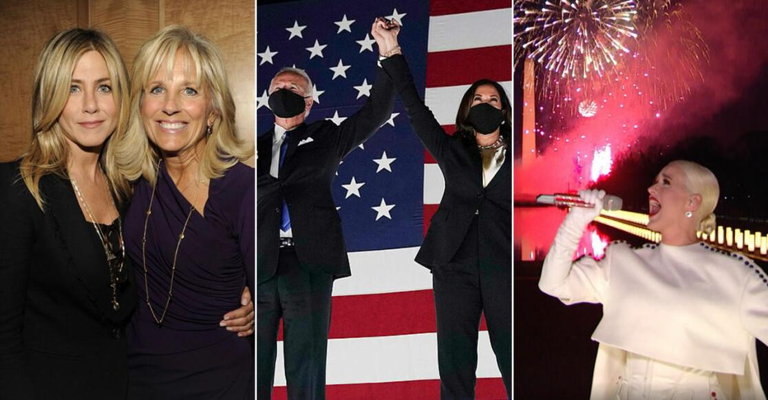 Jennifer Aniston, Jill Biden, Kamala Harris, Joe Biden och Katy Perry