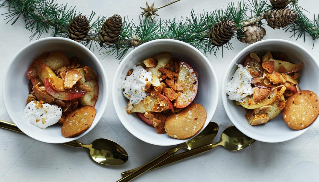 Recept på karamelliserade äpplen med pepparkaka