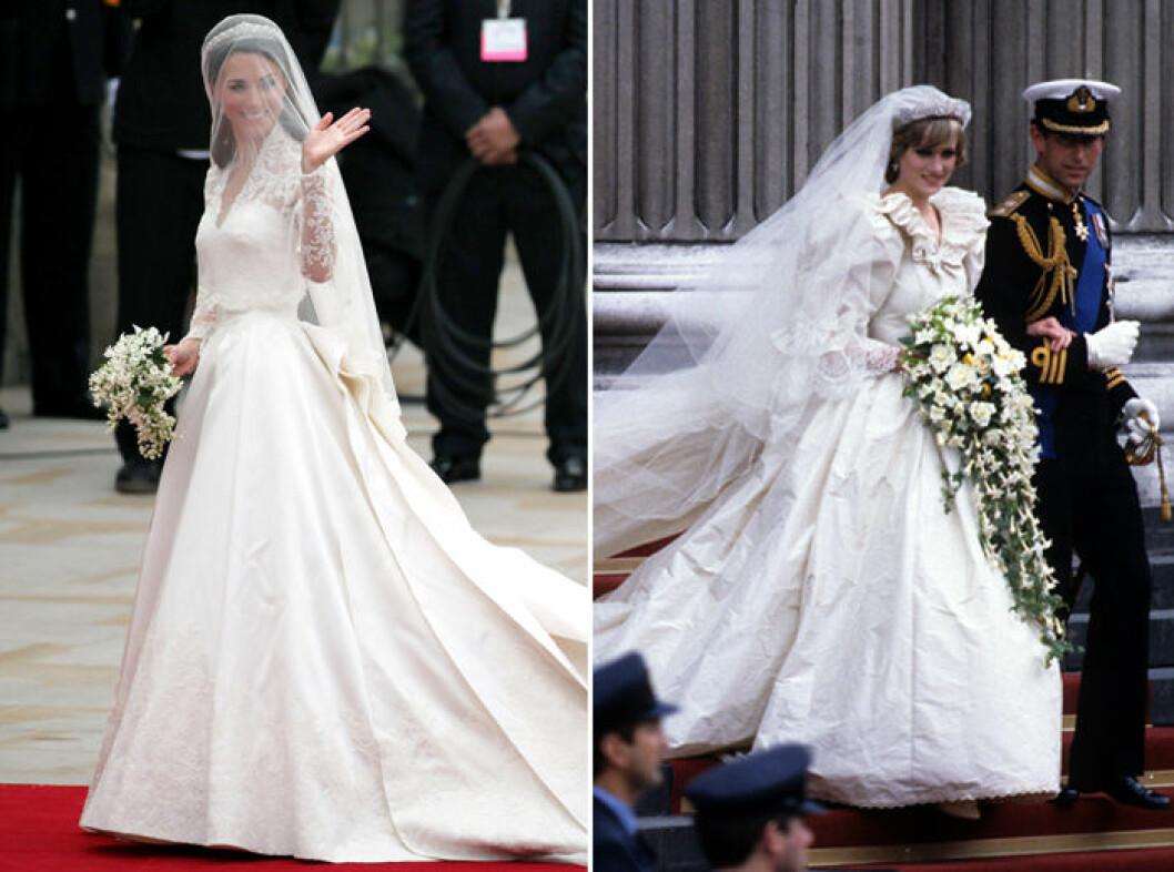 Kate Middleton bar en bröllopsklänning från Sarah Burton/Alexander McQueen och prinsessan Dianas bröllopsklänning designades av Elizabeth Emanuel
