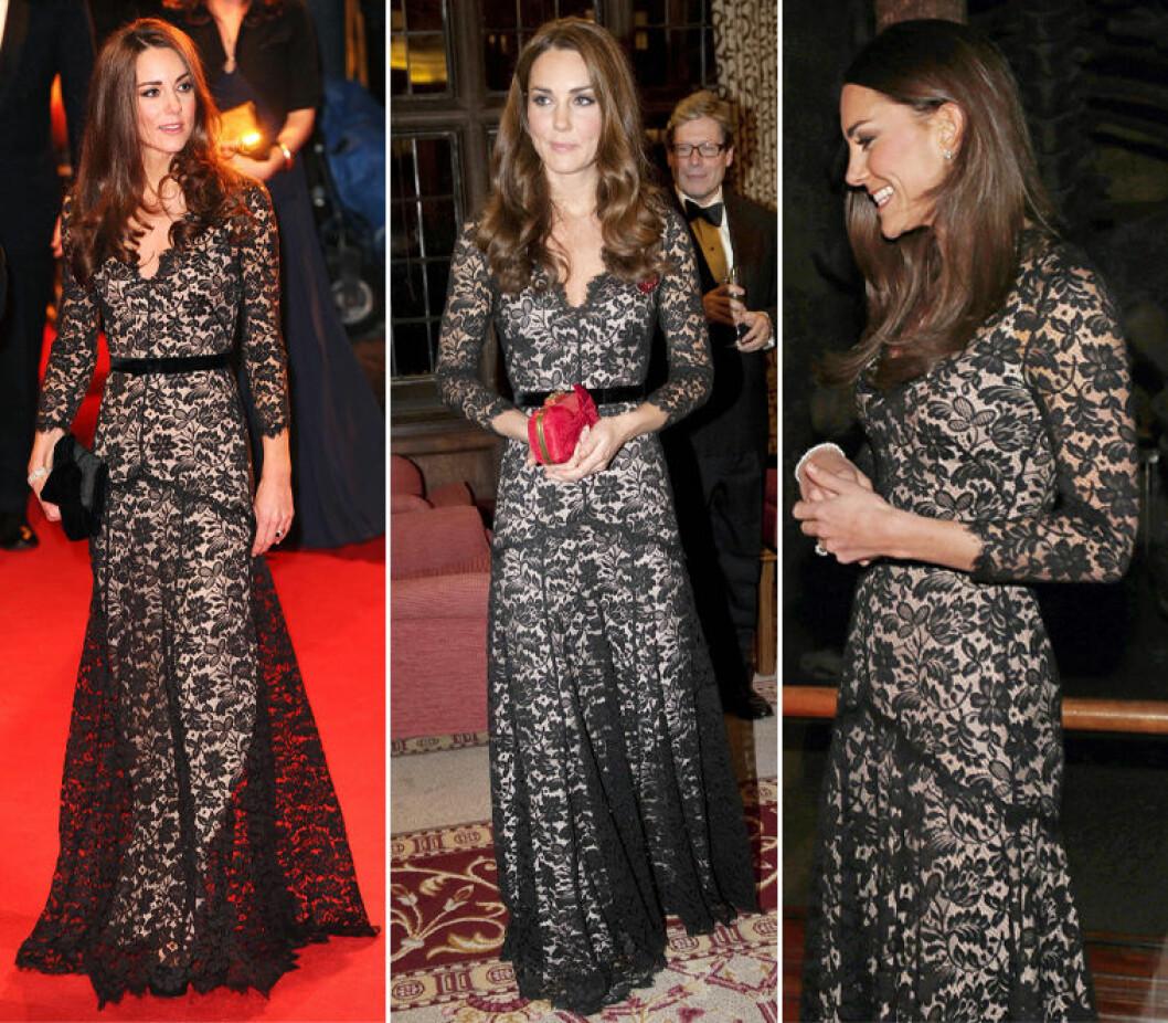 Kate Middleton i svart klänning med spets