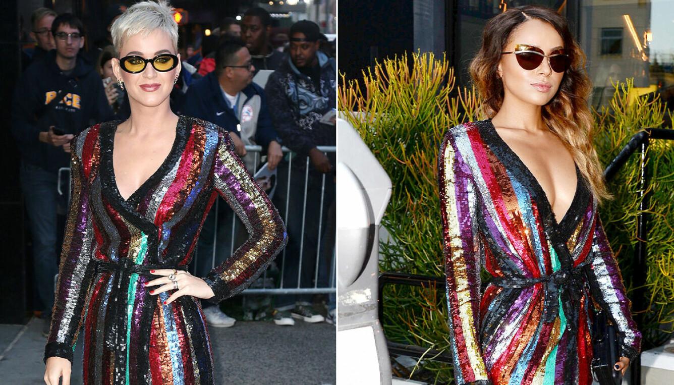 Katy Perry och Kat Graham i likadana byxdresser.
