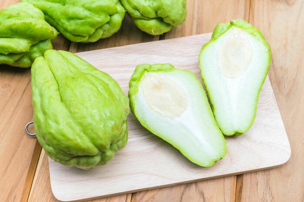 Kayote/Chayote kallas även pärongurka eller grönsakspäron.