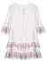 Voluminös klänning från By Malina med vackert blommönster och dekorativa detaljer.