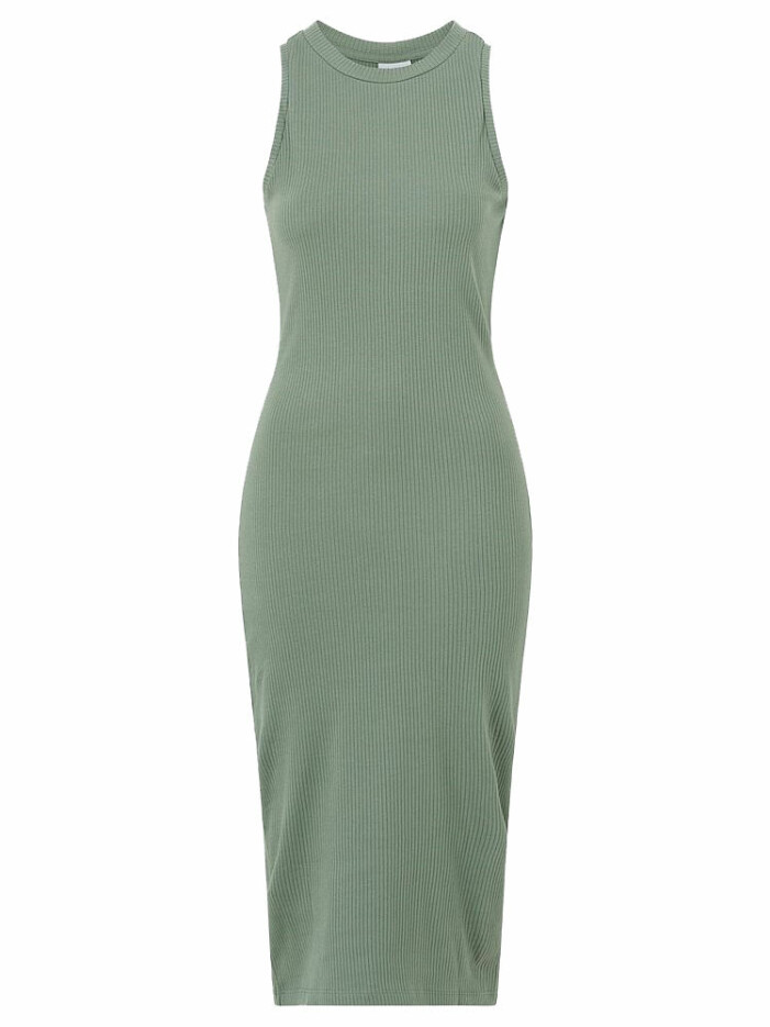 grön ribbad klänning