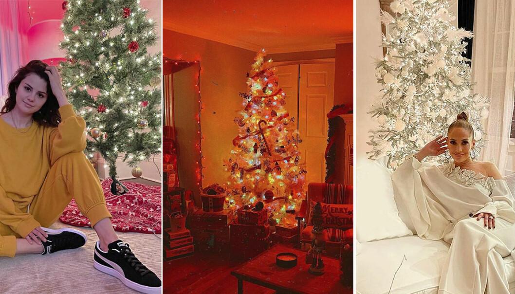 Kollage där Selena Gomez och Jennifer Lopez poserar med sina julgranar