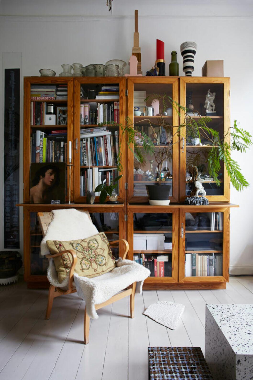 Träskåp med böcker, inredningsdetaljer och växter