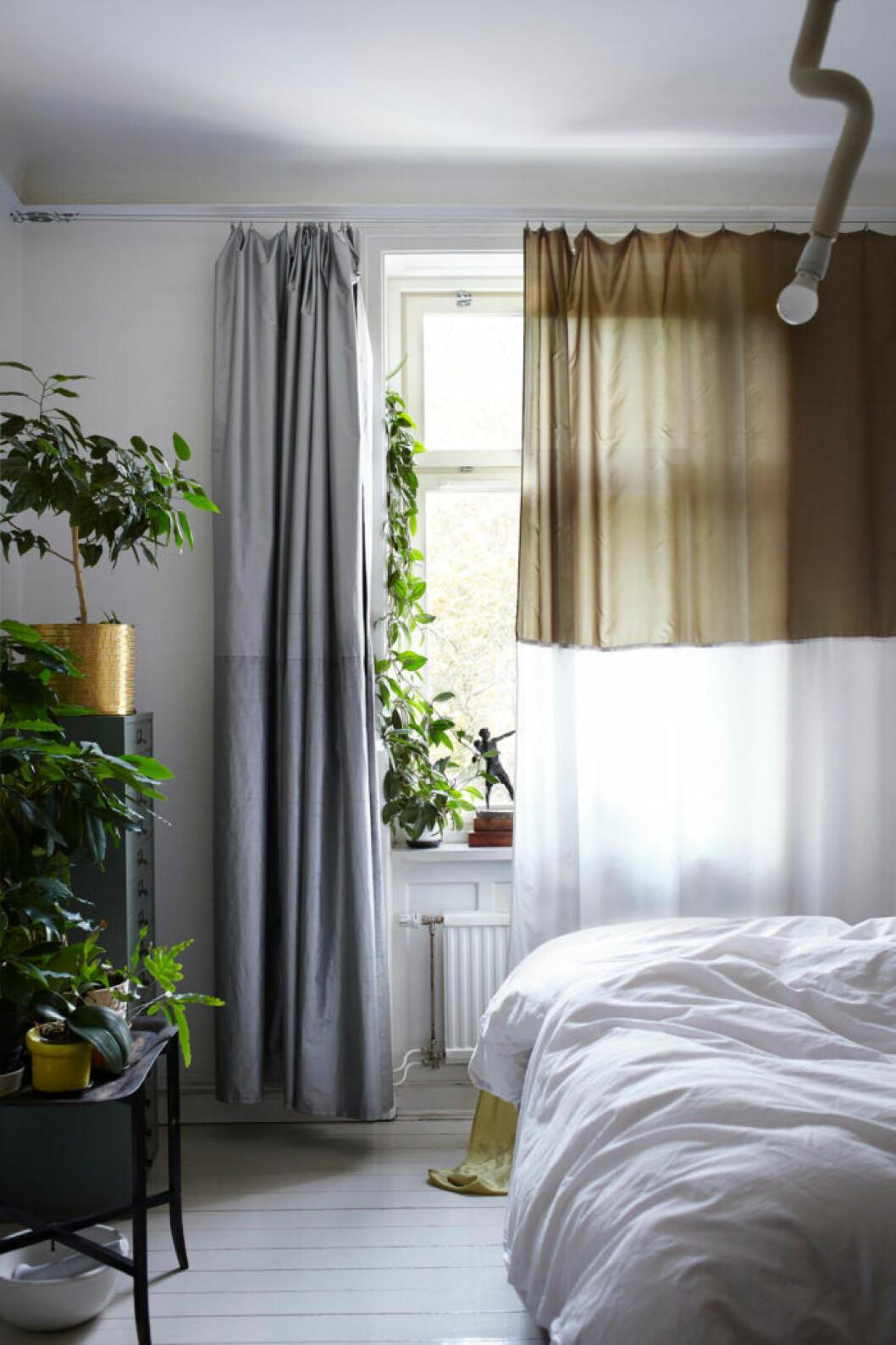 Sovrum i gråa toner med växter och bruna detaljer