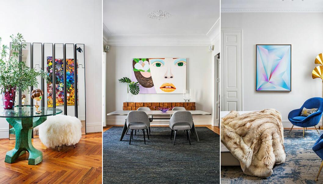 Spektakulär våning i Madrid med färgstark konstsamling i fokus