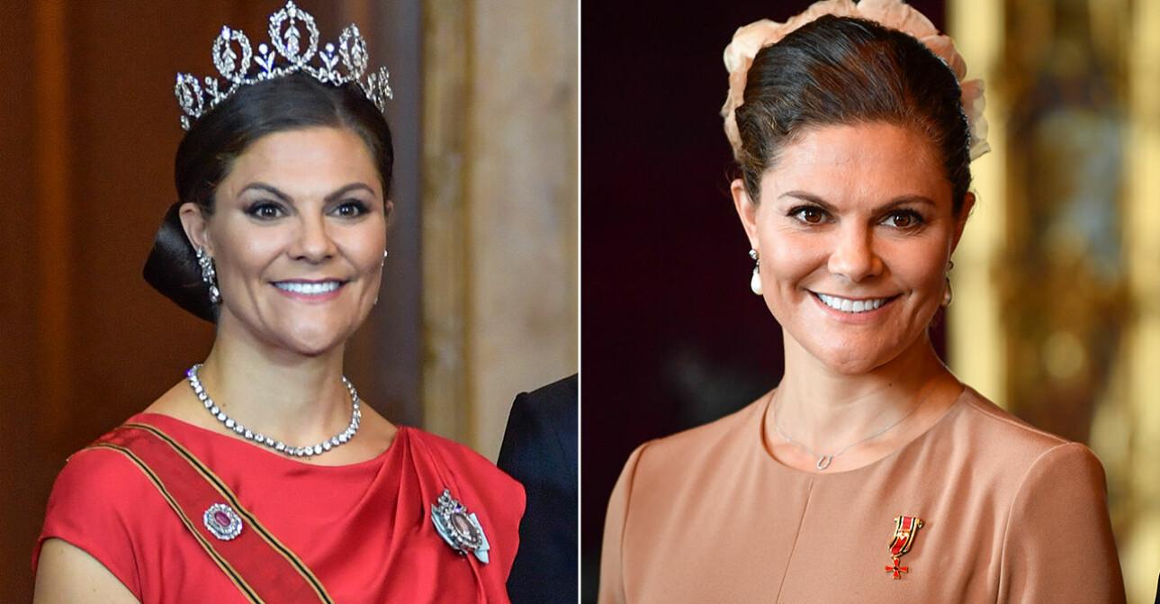 Kronprinsessan i röd galaklänning och prinsessan Sibyllas diadem