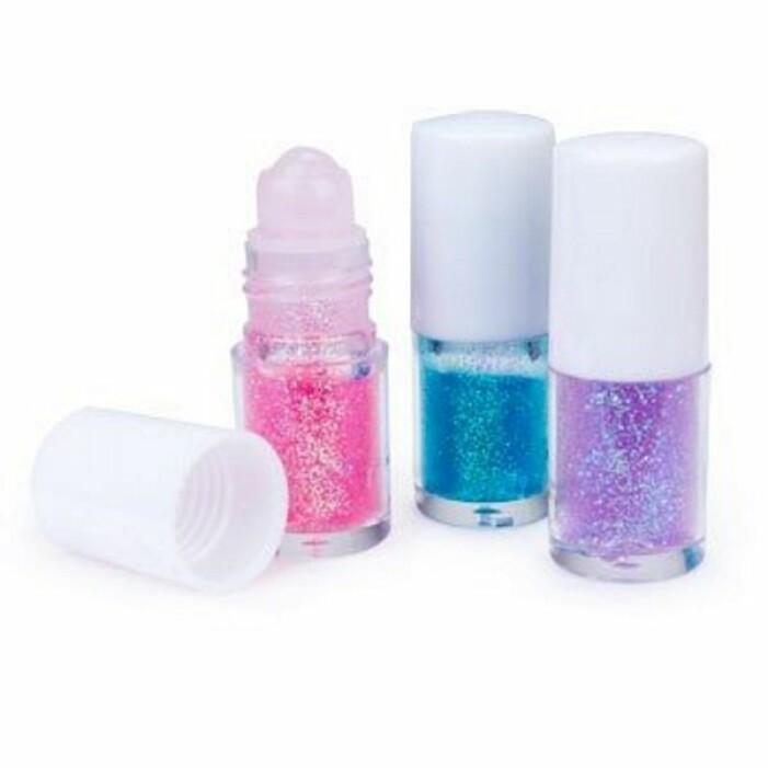 kroppsglitter roll on i rosa, blå och lila