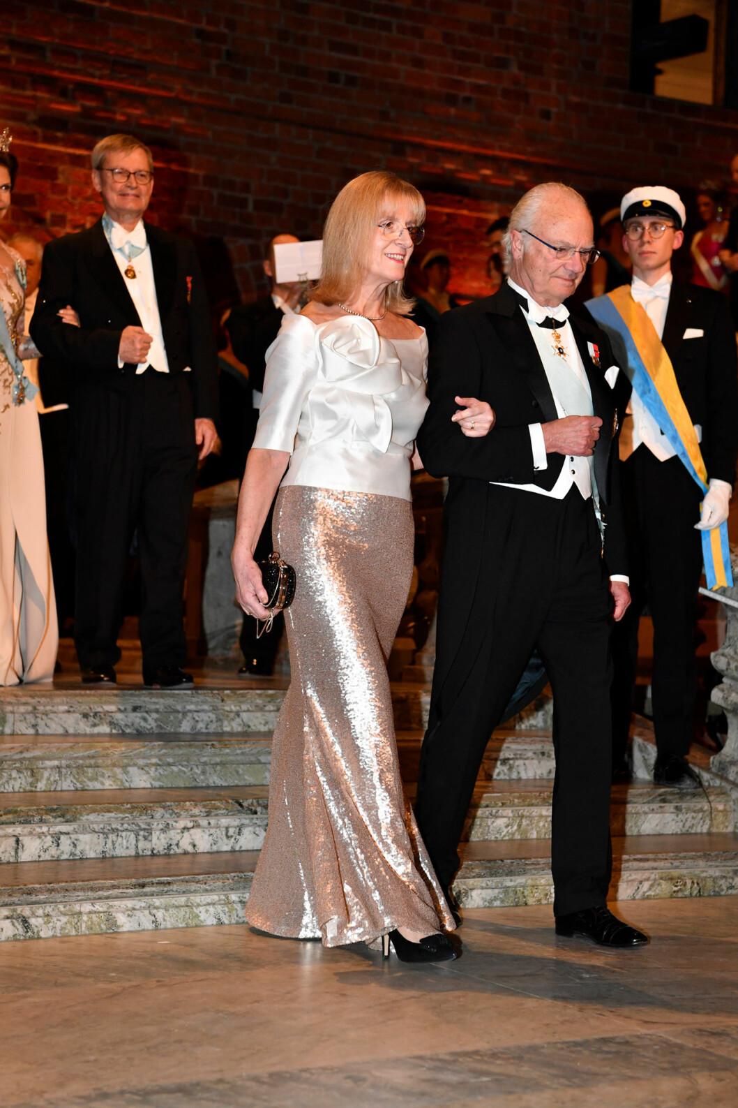 Kung Carl Gustaf och Evi Heldin på Nobel 2019