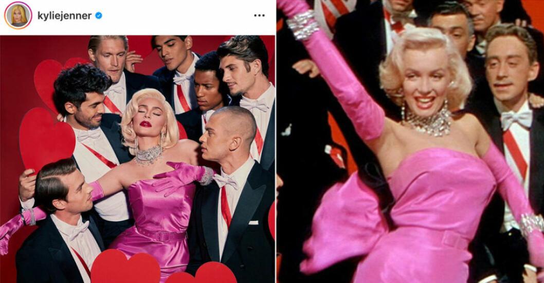 Kylie Jenner i rosa klänning omringad av män