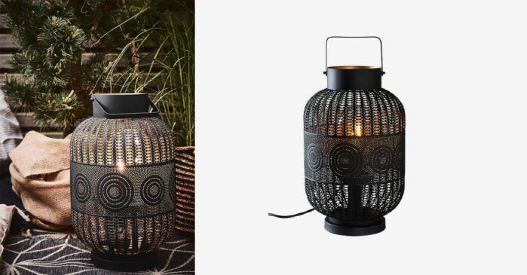 Svart lampa/lykta orientalisk för utomhusbruk