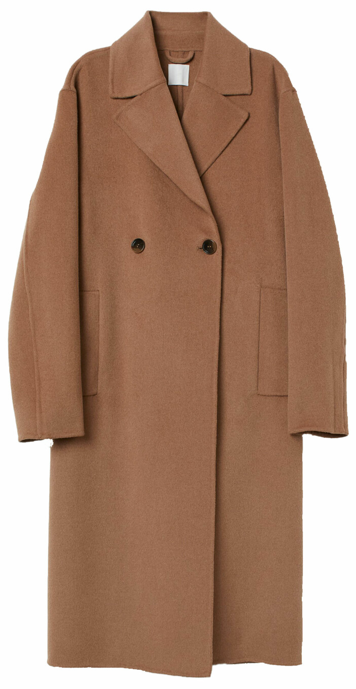 Lång kappa i mörkbeige från H&M