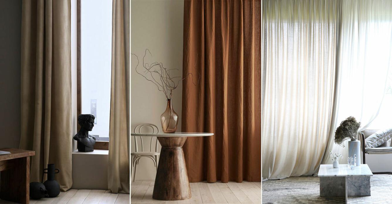 långa gardiner för sovrum och vardagsrum som skapar hotellkänsla hemma