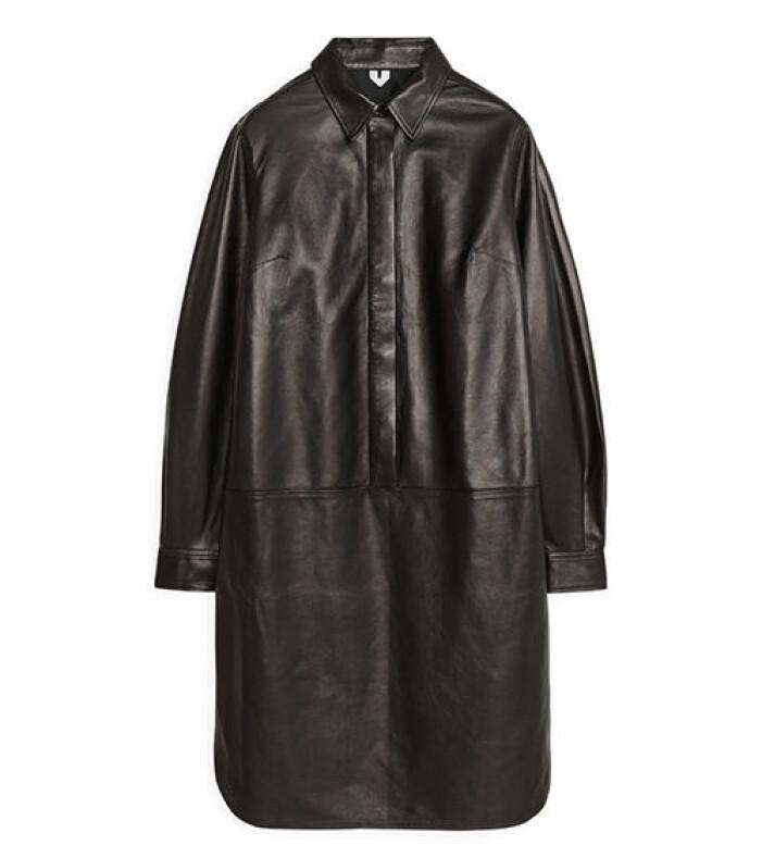 långs skjorta läderimitation dam