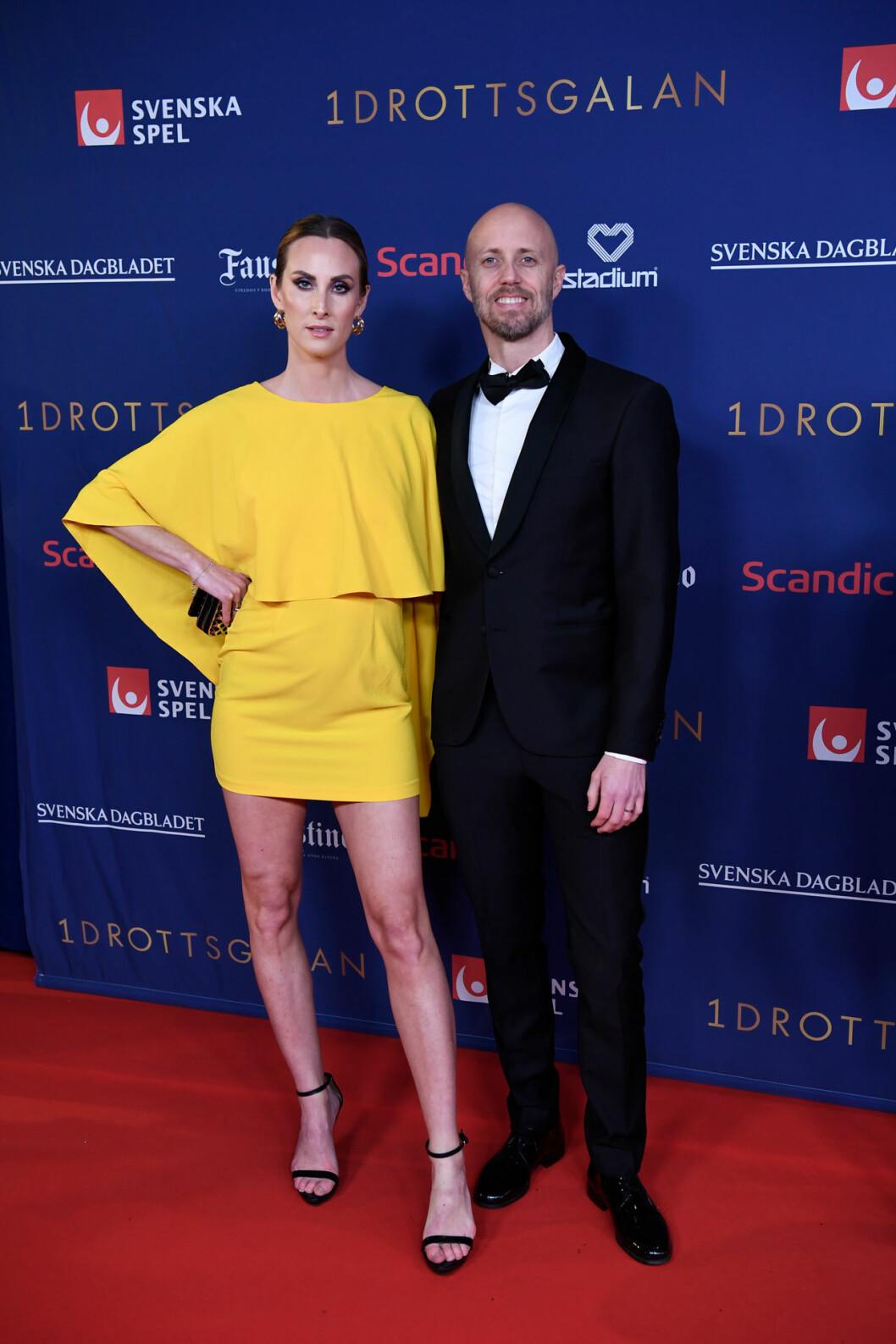 Lars Frölander och Ida Kjos på röda mattan på Idrottsgalan 2020