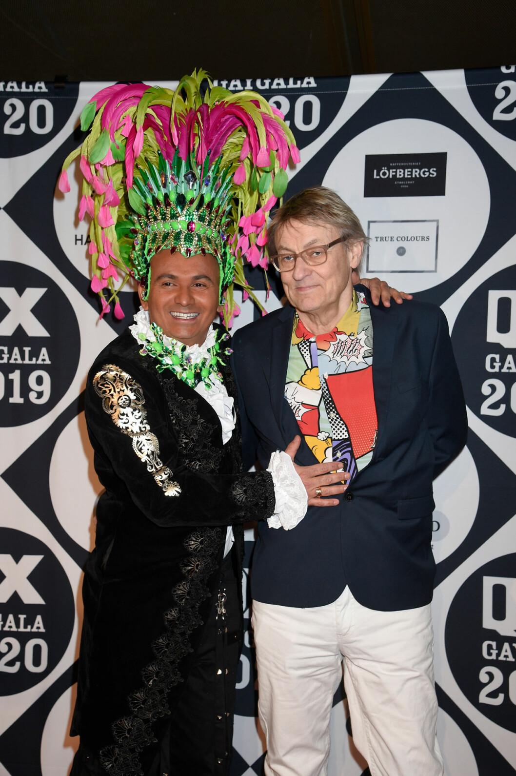 Lars Lerin och Manuel Junior Lerin på röda mattan på QX-galan 2020