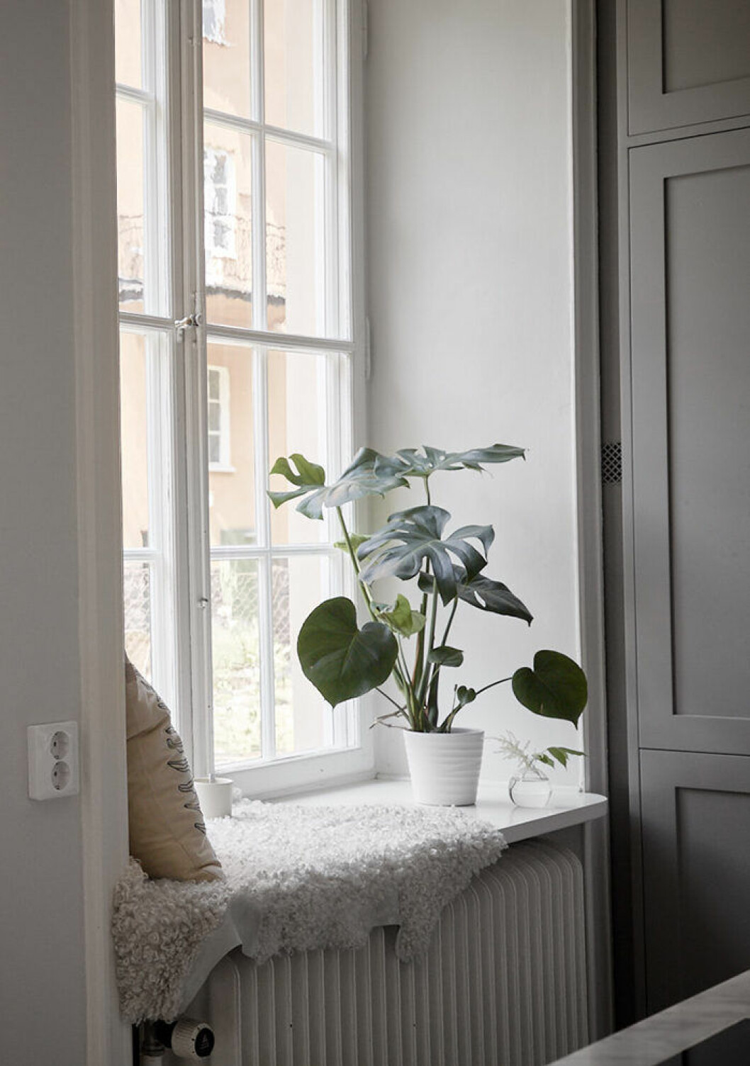 Mysig, enkel läshörna på fönsterbrädet