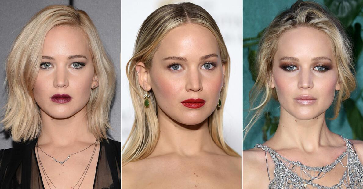 Jennifer Lawrence i tre olika frisyrer