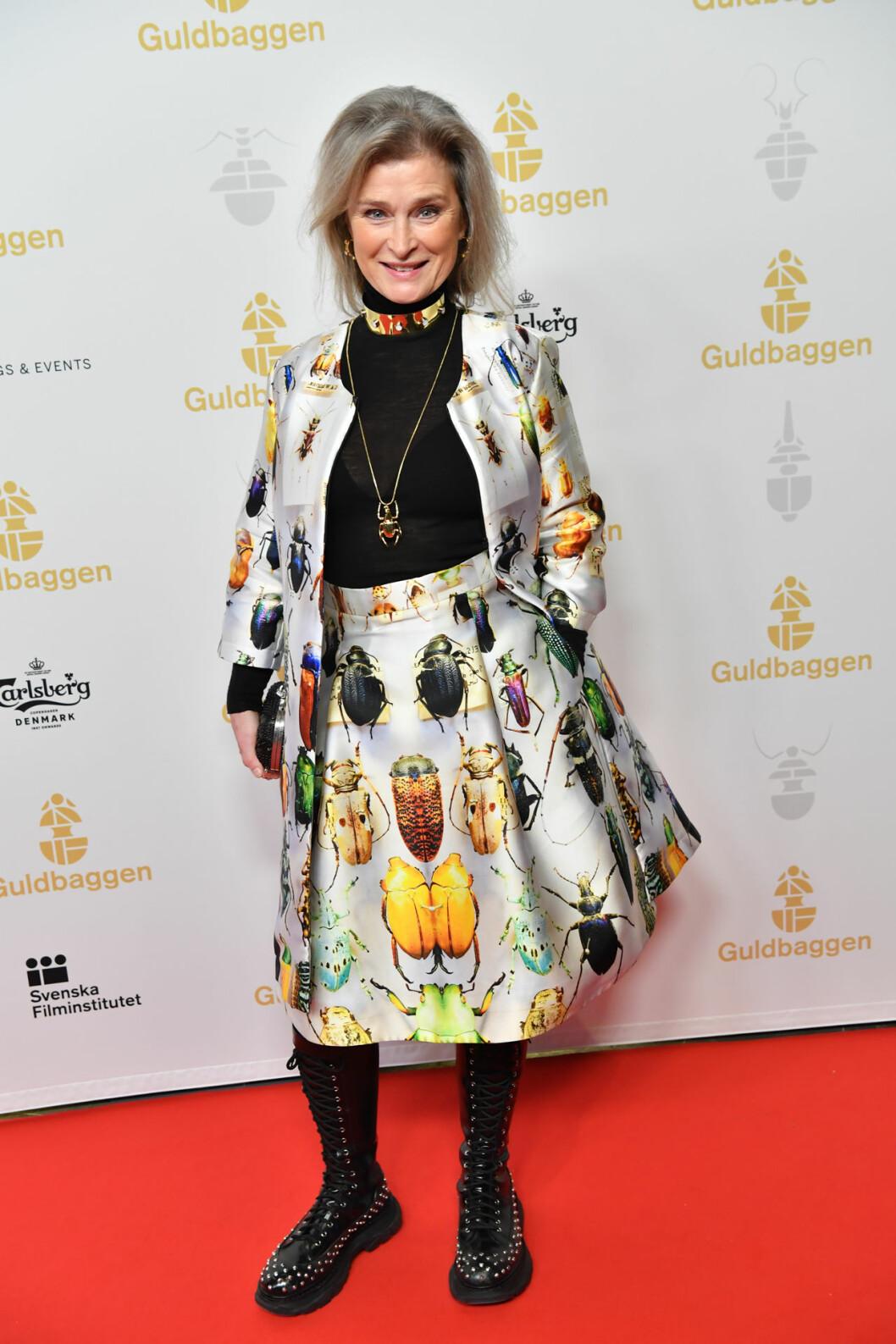Lena Endre på röda mattan på Guldbaggegalan 2020
