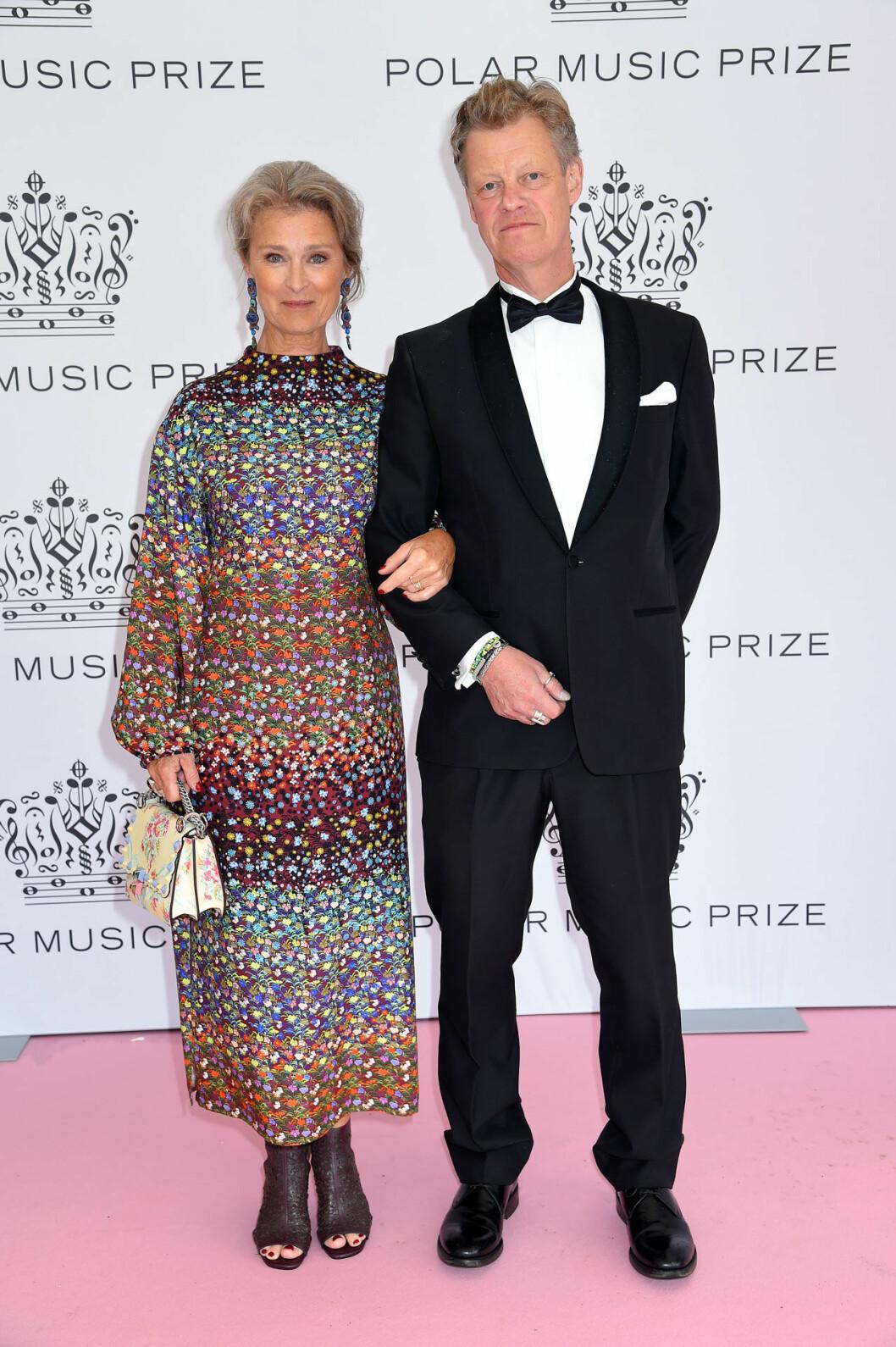 Lena Endre och Martin Wickström på rosa mattan på Polarpriset 2019