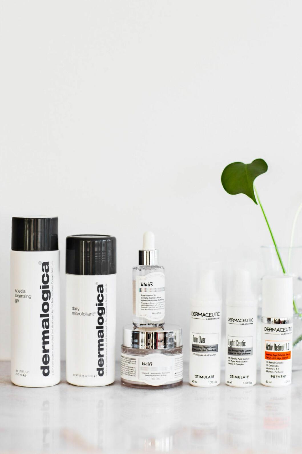 Rengöringsprodukter från Dermalogica, Dermaceutic och Klairs är perfekta för kvällsrutinen