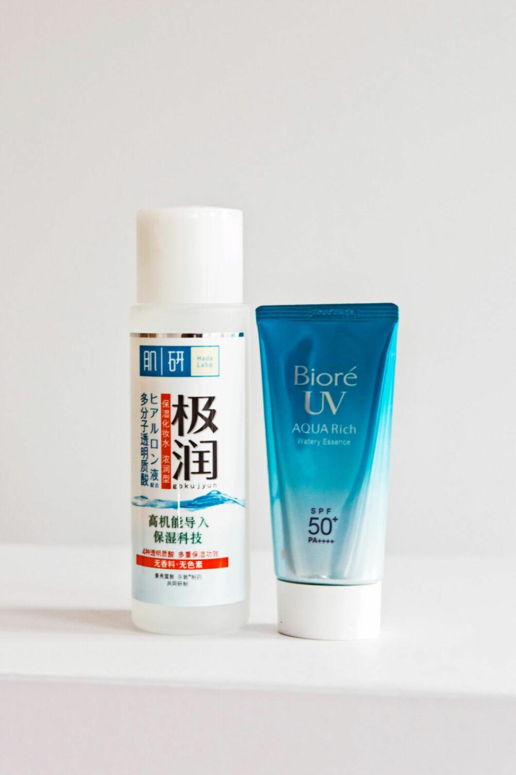 Produkterna Bioré UVaquarich och Hada Labo Hyaluronic Acid lotion