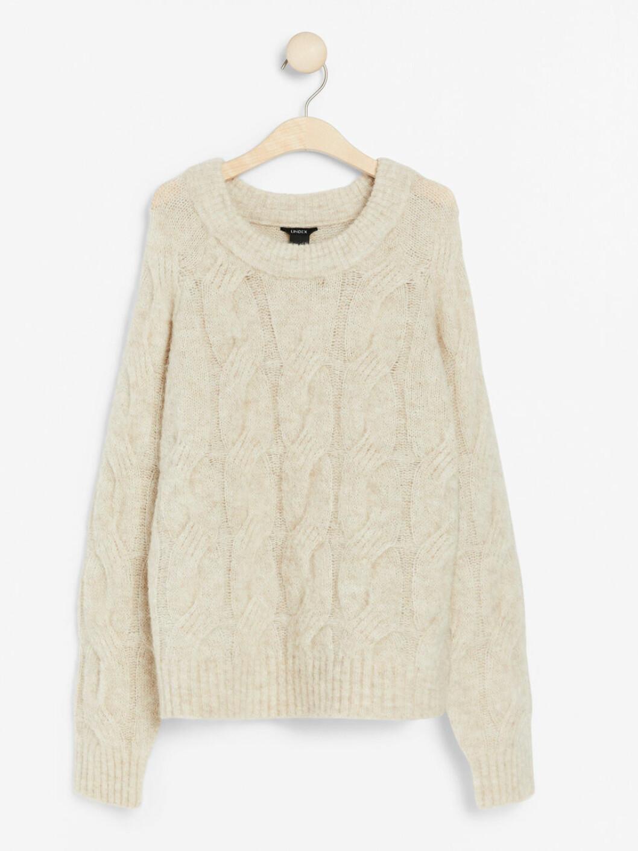 benvit stickad tröja från Lindex