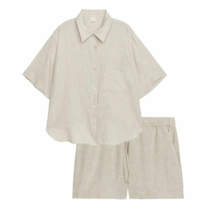 linneset med skjorta och shorts dam