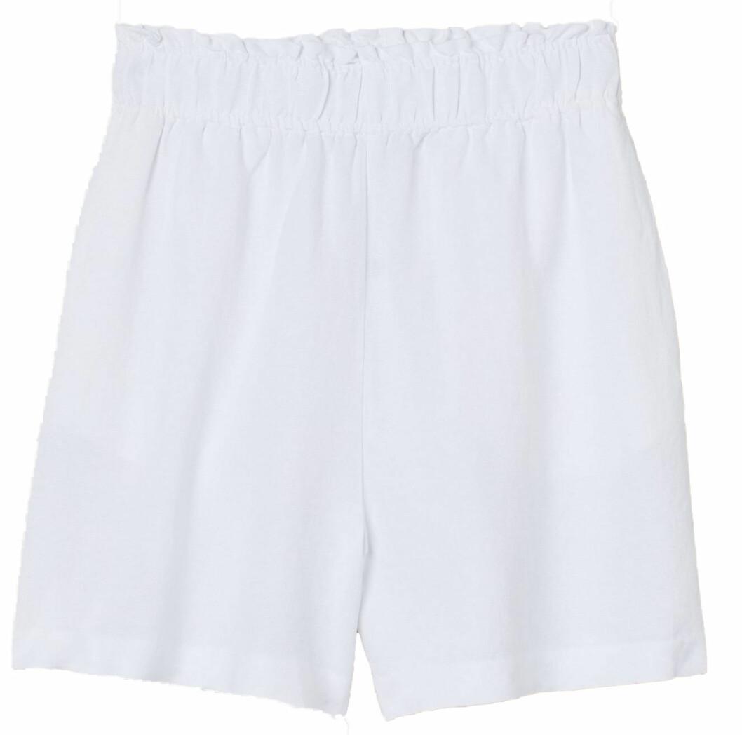 Vita högmidjade linneshorts från H&M