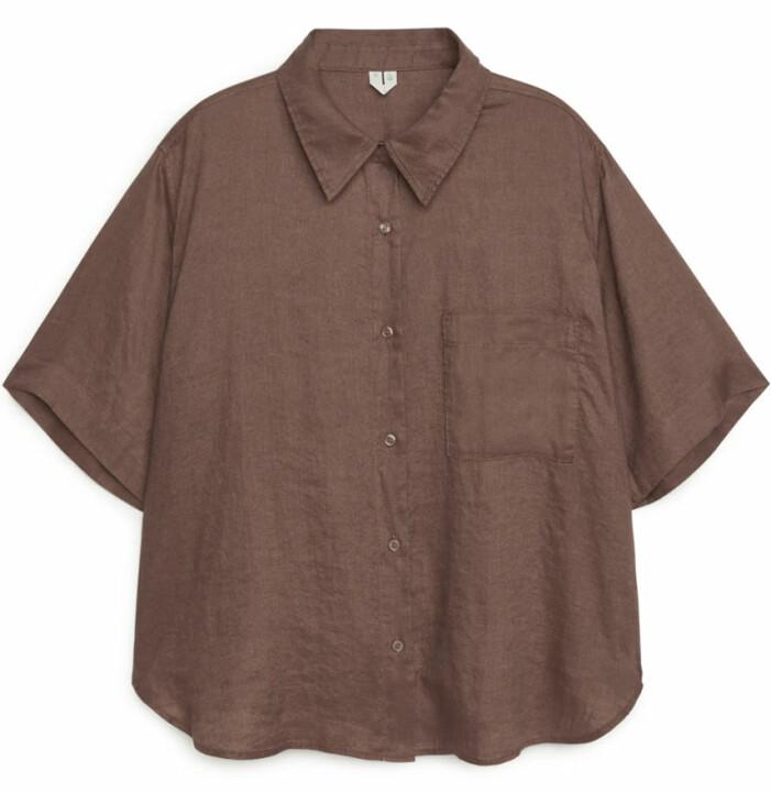 brun linneskjorta dam