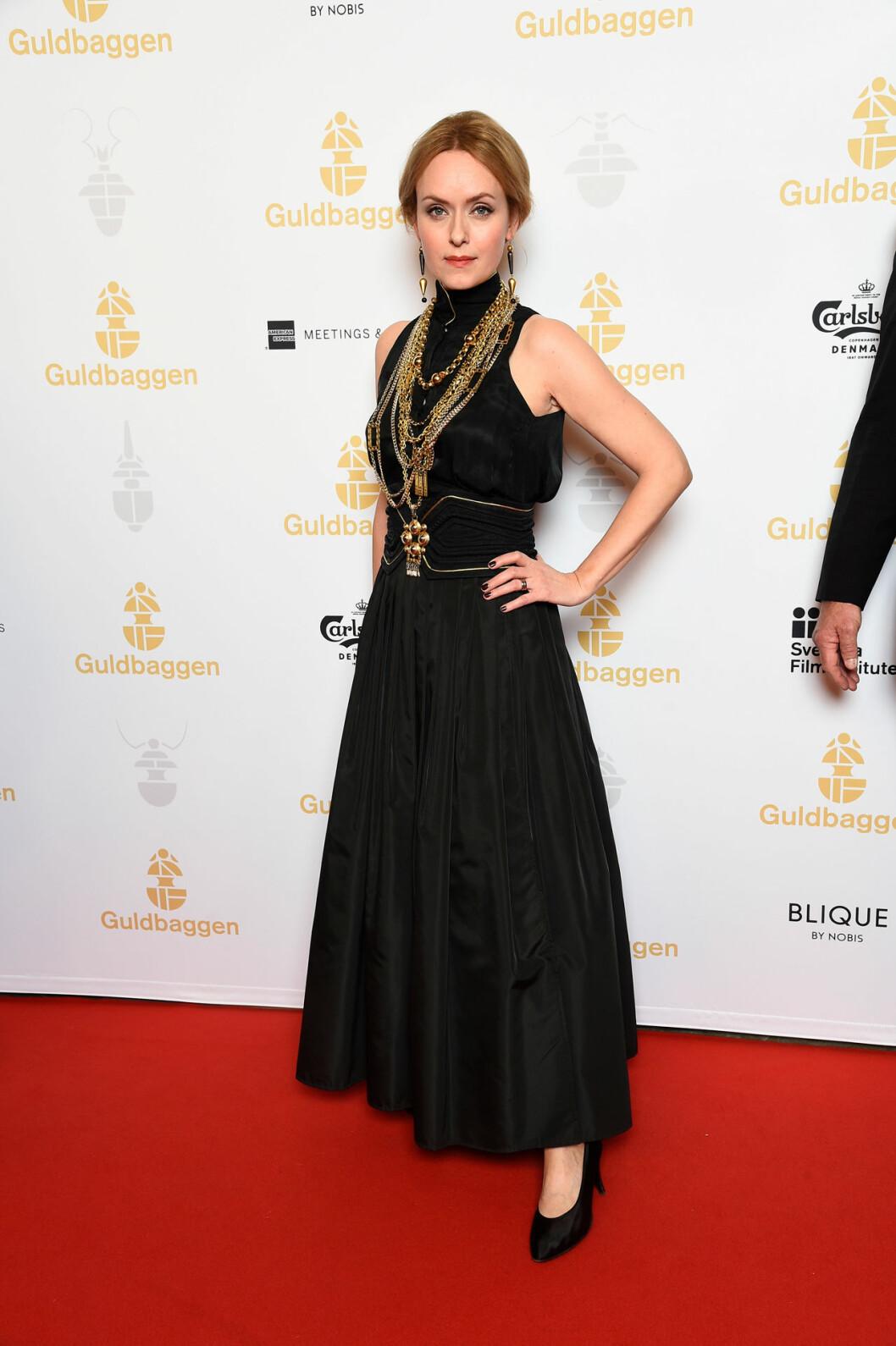 Livia Millhagen på röda mattan på Guldbaggegalan 2020