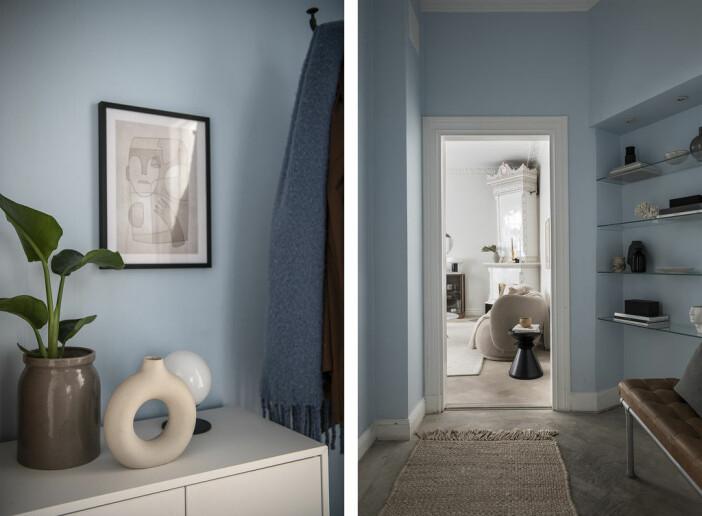ljusblå hall hemma hos Angelica Blick