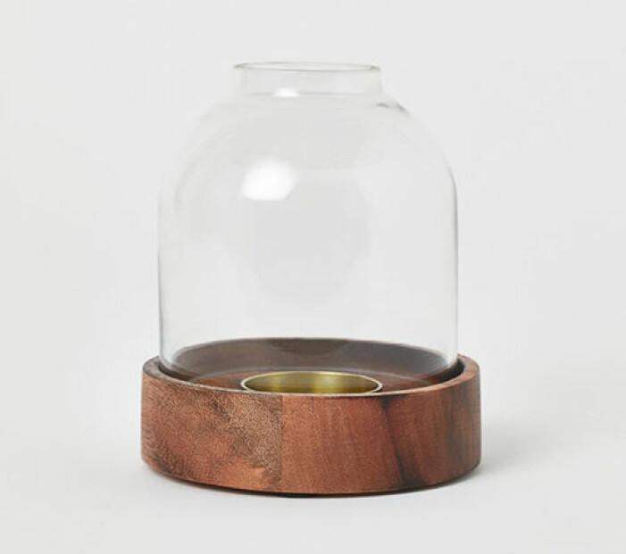 Ljuslykta i trä och glas från H&M Home