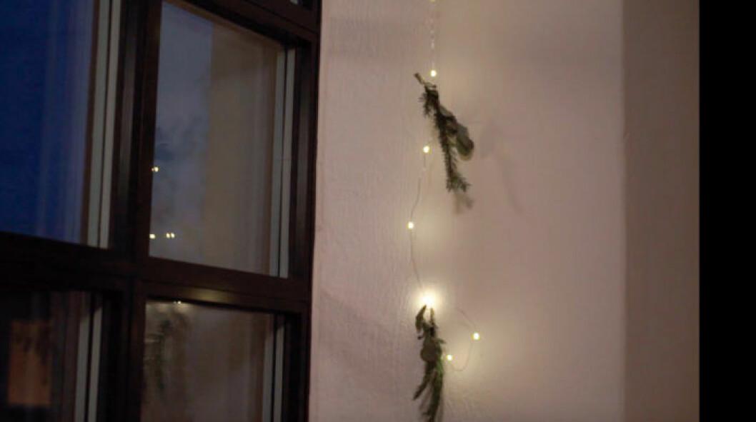 Ljusslingor med granris