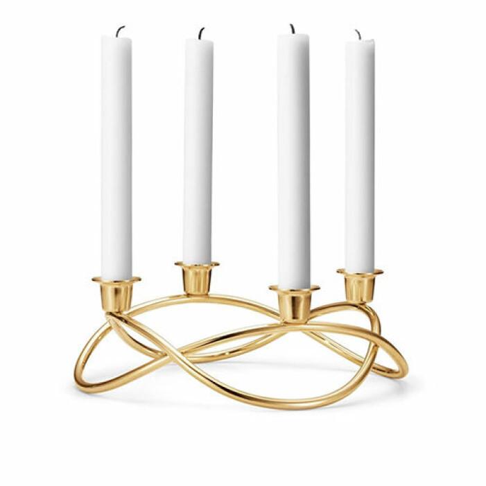 ljusstake i guld från georg jensen