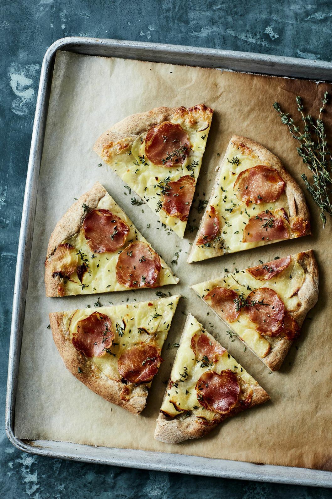 Recept pizza med lomoskinka.
