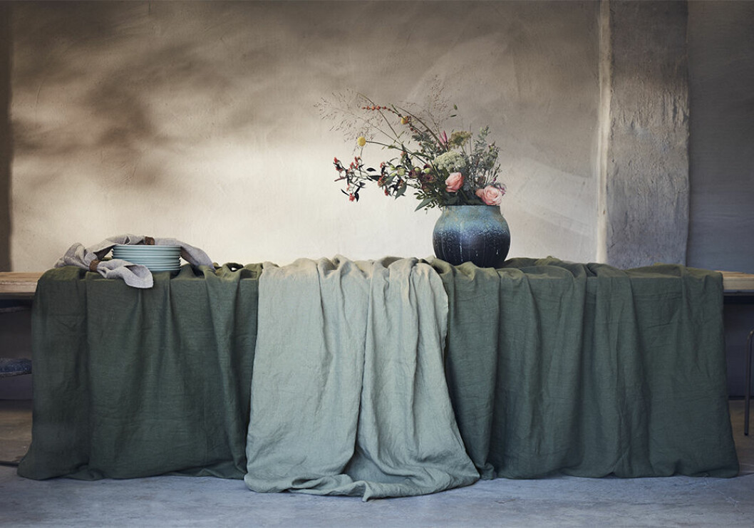 Gröna textilier hos Lovely Linen 2020