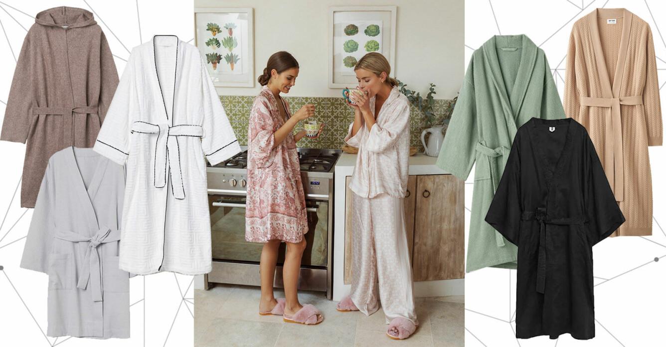 lyxiga morgonrockar i bomull, satin, kashmir, linne och velour för dam