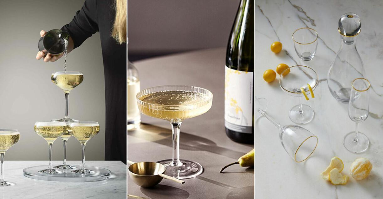 champagneglas och champagnekupa